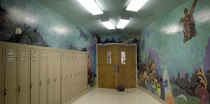 panoramic view of the largest mural section